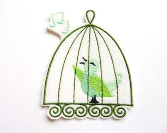 Green Bird in cage badge patch embroidered patch