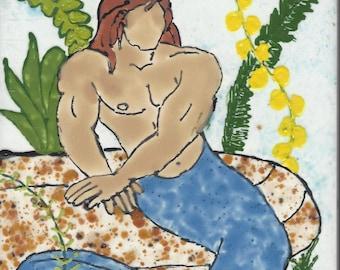 Hunky Merman #216 Hand Painted Kiln Fired Decorative Ceramic Wall Art Tile 8 x 6