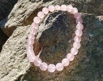 Rose Quartz Bracelet, Breast Cancer Awareness Bracelet, Heart Chakra Bracelet, Rose Quartz, Chakra Bracelet, Positive Affirmation Jewelry