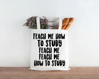 Funny Rap Parody, Teach Me How to Study, Lesson Bag, Funny Teacher Tote, Lesson Plan Tote, School Tote