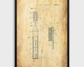 Toothbrush Patent Print   Vintage 1999 Toothbrush Design, Dental Care, Patent Art, Dentist Art, Bathroom Art, Single Print, INSTANT DOWNLOAD