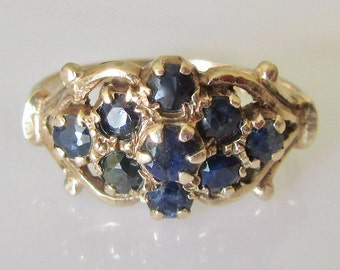 Dark Blue Sapphire Cluster 9ct Gold Ring