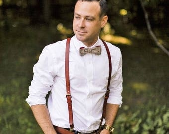 Leather Suspenders · Personalized Suspenders · Wedding Suspenders · Brown Suspenders · Men's Suspenders · Brown Groom & Groomsmen Suspenders