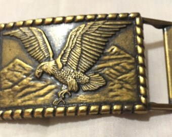 American Eagle Mountains Brass Belt Buckle, Eagle Collection Belt Buckle 9187-11