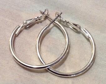 Art Deco Large Silver Hoop Pierced EARRINGS, Boho Dangle Earrings 5624-102