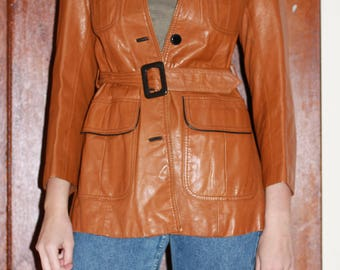 70s Genuine Leather Cropped Trench