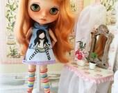 Conjunto de vestido y medias para blythe, pullip, monster high o muñecas de tamaño similar. Escala 1.6.