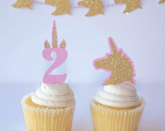 Unicorn Cupcake Toppers - Unicorn Birthday - Unicorn Party - Unicorn Party Decor - Horse Cupcake Topper - 12 ct
