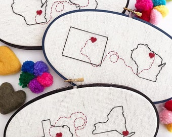 Connection   State Cross Stitch   Home Decor   Custom Cross Stitch   Heart Cross Stitch   by Cloth & Twig Shop