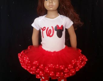 red minnie mouse birthday outfit, minnie mouse birthday outfit, minnie mouse first birthday outfit, first birthday, ribbon edge tutu, minnie
