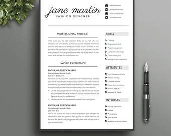 Boutique Resume Template 6 | Creative, Modern Professional CV | Black & White | Microsoft Word | Instant Download | No Photo