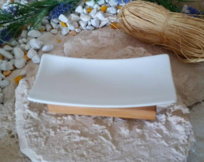 SOAP dish olive wood / porcelain SOAP dish wood solid unique hand work