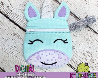 Unicorn Zippered Pouch ITH In the Hoop Machine Embroidery Design Pattern
