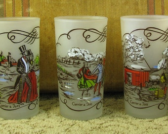 Set of 5 Currier and Ives frosted Glasses Federal