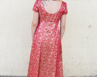 Vintage 1960's Hot Pink / Magenta & Gold Floral Brocade Evening Gown / Dress // Empire Waist // Train