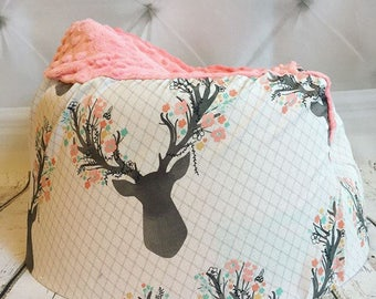 Stags in Bloom Coral Bumbo Seat Cover