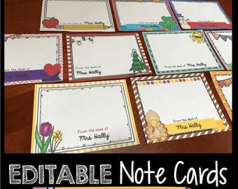 Personalized Note Cards - EDITABLE - Teacher Stationary - Custom Notes - Gift - Teacher Appreciation - Christmas gift