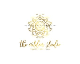 Gold Mandala Logo Yoga Logo Design Minfulness Logo Design Photography Logo
