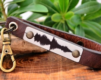 Soundwave Key Holder Leather Keychain Soundwave Keychain Mens Gift Father's Day Gift Key Fob Personalized Key Gift  Men Leather Gift For Him