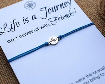 Friendship Bracelet Compass Bracelet BFF Gift Best Friend Bracelet Life is a Journey Bracelet Wishing Bracelet Wanderlust Bracelet Travel