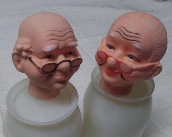 "2 GRANDPARENT HEADS,2.5"",Vinyl,Doll Making Supply, 2.5"",Vintage"