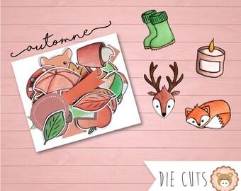 Die cuts aquarelle Automne - découpes - embellissements