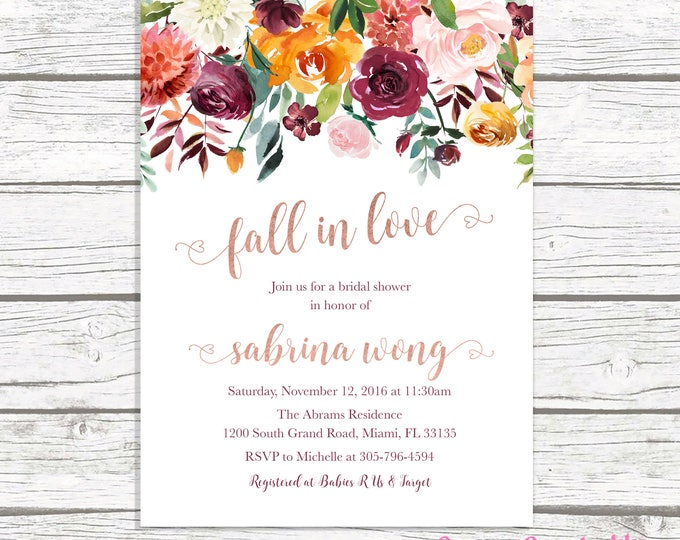 Fall in Love Bridal Shower Invitation, Rose Gold Bridal Shower Invitation, Burgundy Bridal Shower Invitation, Fall Bridal Shower Invite