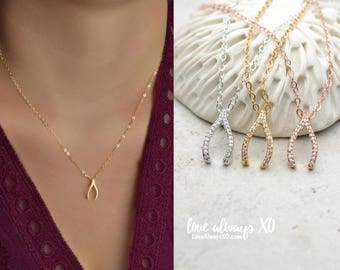 Wishbone Necklace / Pave Necklace / Pave wishbone / CZ necklace / diamond wishbone / Lucky Necklace / sterling silver / gold filled