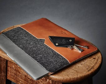 """New Macbook Pro 13"""" leather case and MacBook Pro Retina 13"""" Leather Sleeve Case and Wool Felt Laptop Cover Handmade"""
