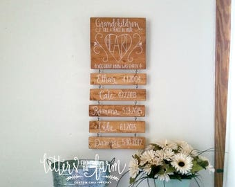 Grandchildren Sign - Grandparents Sign - Grandchildren Name Sign - Gift for Grandparents - Hand Painted Lettered Sign - Place in Your Heart