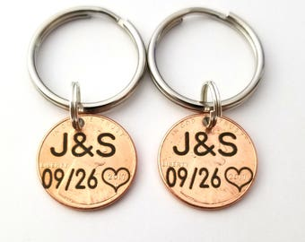 Matching Penny Keychains with Initials and Anniversary Year, Gift for Boyfriend, Inexpensive Gifts, Matching Keychain Set