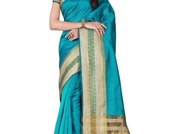Indian Designer Blue Colored Banarasi Silk Saree Bollywood Party Wear Engagement weeding  Readymade trendy silk Saree Blouse women