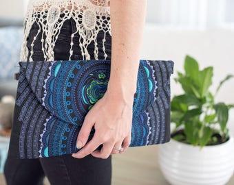 Mandala Bag with removable strap - Blue