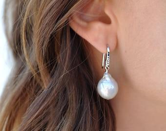 Pearl Earrings, Large Pearl Earrings, Silver Pearl Earrings, Silver Large Pearl Earrings, Wedding Pearl Earrings, Single Pearl Earrings