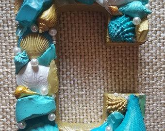 Seashell Letter Beach Decor- Beach Wedding- Gift--Coastal Decor- Mermaid Decor-- Letter C