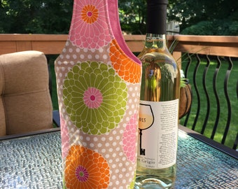 Wine Tote - Wine Bag - Wine Gift Bag - Wine Tote Bag - Floral Wine Tote - Pink and Green Wine Tote - Spring Wine Tote