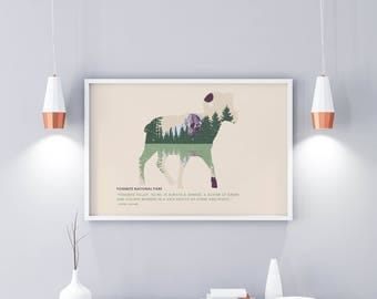 Yosemite Park - National Park Poster - Travel Poster - National Park Travel Poster - Minimalist Poster – Ansel Adams Quote - Wall Art