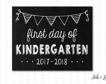 First Day of Kindergarten Sign - First Day of School Sign  - School Chalkboard - First and Last Day of School - Instant Download