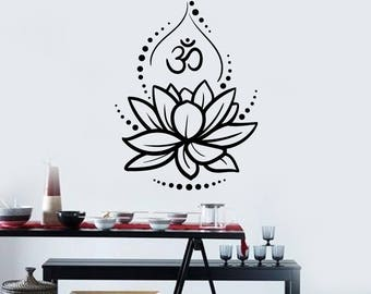 Lotus Vinyl Wall Decal Flower Om Sign Hinduism Yoga Meditating Stickers Mural (#2549di)