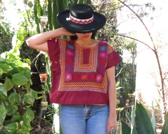 Vintage Oaxacan Starburst Tehuana Huipil / Mexican Huipil / Mexican Blouse