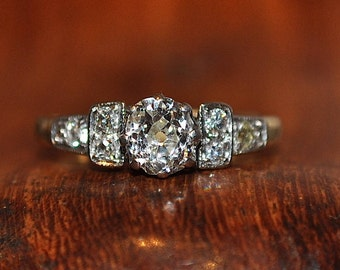 Art Deco Engagement ring 0.67ct Old European Cut diamond 18ct gold Valuation 4.900k 2.50gms Size L1/2 US 6