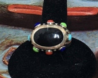 Beautiful  Sterling Silver Multi-stone Ring 7.5