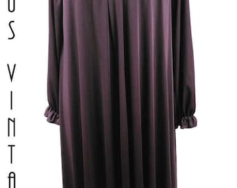 "Plus Size UK 16 18 1970s Vintage Plum Maxi Dress Smock Sequins Shubette US 12 14 Bust to 44"" 112cm"