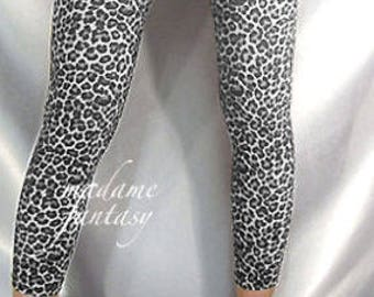 Leopard print spandex footless stockings Leg warmers black white