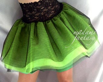 Lace top tutu Net skirt Black neon green