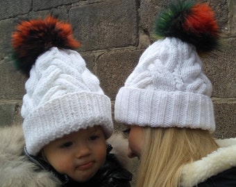 Hand made Knit Beanie, Beanie Hat, Cable Knit, Women's Winter Hat, Custom Color, Fur Pom Hat Women's Wool Hat multicolored pompon