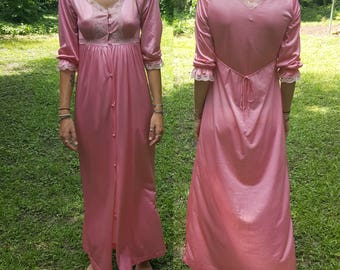 Vintage Silky Robe - Pink Button Down Nightgown - Lace 3/4 Sleeve - Bath Robe - Night Gown - Valentine's Day