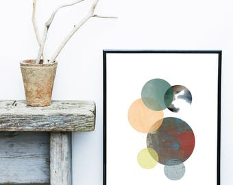 Circles Print, Geometric Art, Modern Wall Art, Printable Art,  Home Decor,  Digital Download, Wall Decor