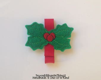 Holly with Berries | Hair Clips for Girls | Toddler Barrette | Kids Hair Accessories | Grosgrain Ribbon | Felties |No Slip Grip | Christmas