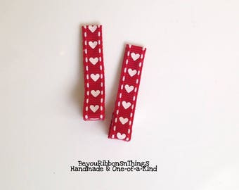 Hearts | Hair Clips for Girls | Toddler Barrette | Kids Hair Accessories | Grosgrain Ribbon | No Slip Grip
